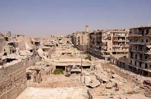 A general view shows debris and damaged buildings in Aleppo