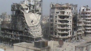 A general view of damaged buildings, which according to the opposition were damaged by the government's army, in Homs