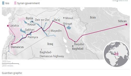 Map Iranian land bridge