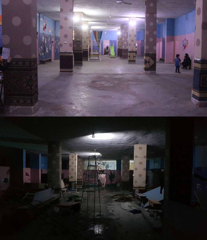 Before and after a school used as an underground basement