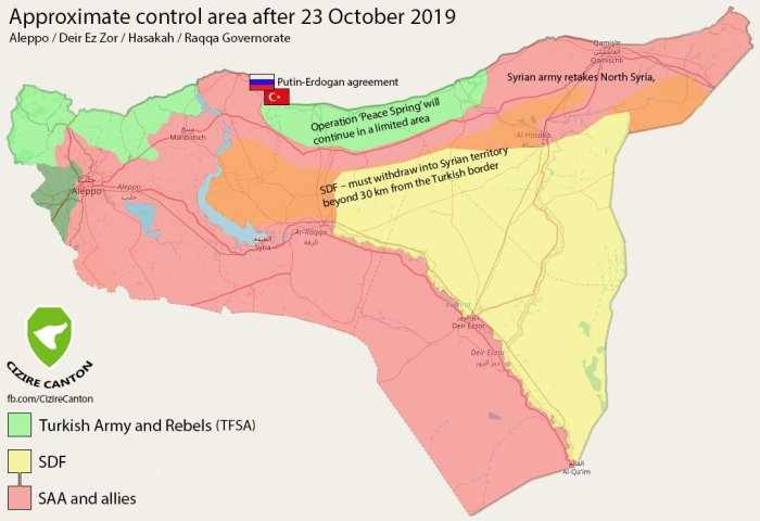 Map of Russia Turkey agreement